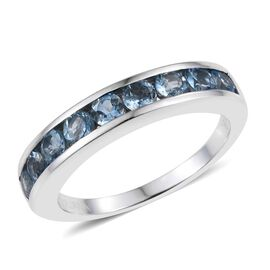 ILIANA 18K White Gold 1 Carat AAA Santa Maria Aquamarine Half Eternity Band Ring.