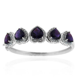 Amethyst (Hrt 4.75 Ct) Bangle (Size 7.5) in Rhodium Plated Sterling Silver 20.000 Ct.