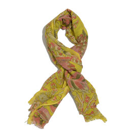One Time Deal -  Merino Wool Blend (60% Merino Wool) Red and Multi Colour Floral Pattern Yellow Colour Scarf (Size 180x70 CM)