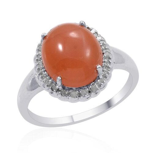 Mitiyagoda Peach Moonstone (Ovl 4.25 Ct), Diamond Ring in Platinum Overlay Sterling Silver 4.350 Ct.