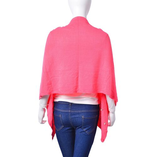 Pearl Detailed Embellished Pink Colour Poncho (Size 180x45 Cm)