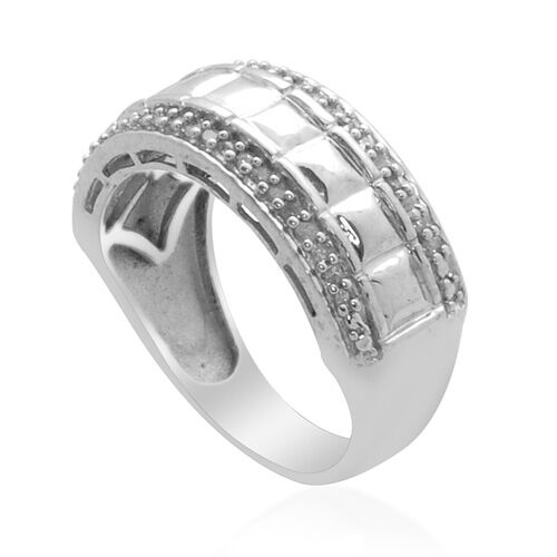 Diamond (Rnd) Ring in Platinum Overlay Sterling Silver  0.150 Ct.