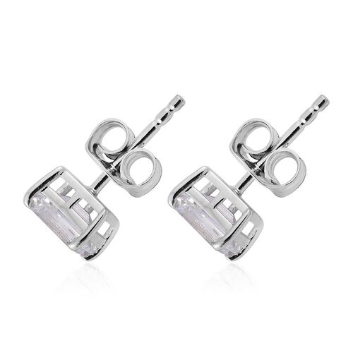 9K White Gold Octagon Stud Earrings (with Push Back) Made with SWAROVSKI ZIRCONIA