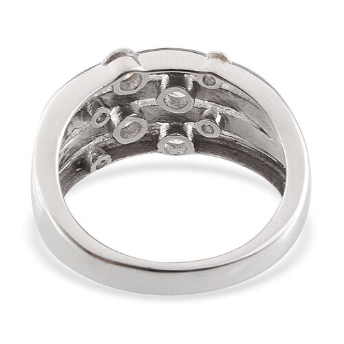 J Francis - Platinum Overlay Sterling Silver (Rnd) Ring Made with SWAROVSKI ZIRCONIA 0.920 Ct.