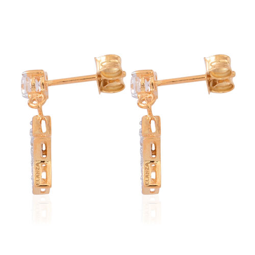 ELANZA AAA Simulated White Diamond (Rnd) Star Earrings (with Push Back) in 14K Gold Overlay Sterling Silver