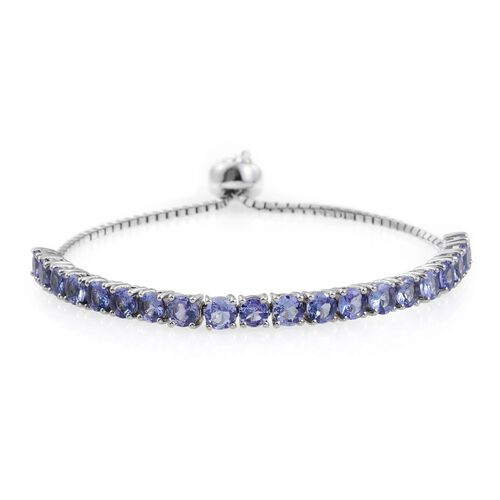 Tanzanite (Rnd) Bracelet (Size 6-9)  in Platinum Overlay Sterling Silver 4.500 Ct.