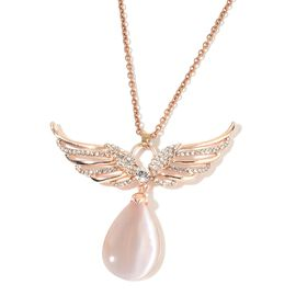 Simulated White Cats Eye, White Austrian Crystal Angel Wings Brooch or Pendant with Chain (Size 24) in Rose Gold Tone
