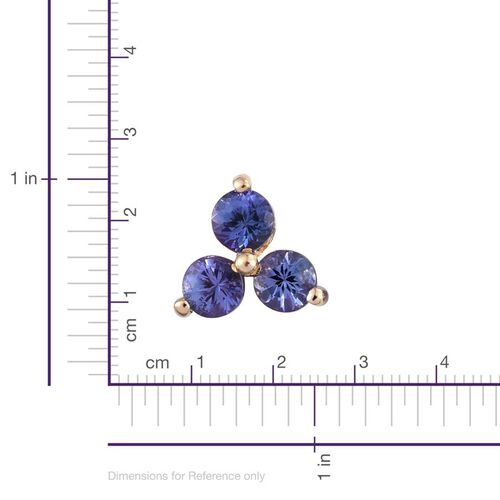 9K Y Gold Tanzanite (Rnd) Stud Earrings (with Push Back) 1.750 Ct.