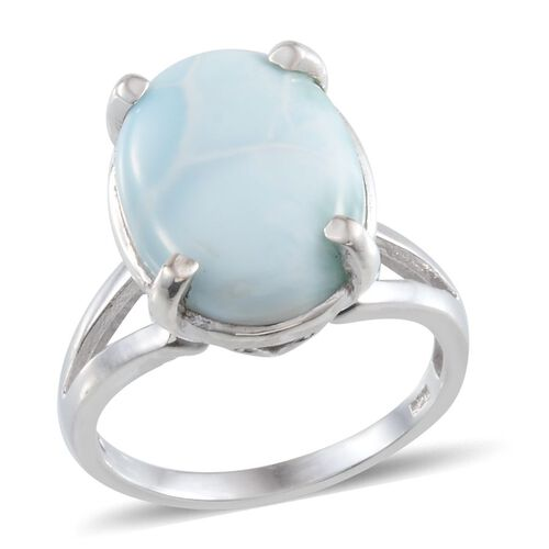 Larimar (Ovl) Solitaire Ring in Platinum Overlay Sterling Silver 10.000 Ct.