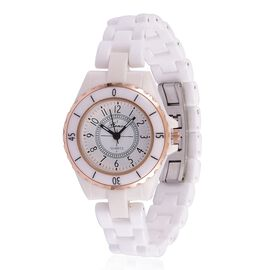 GENOA Japanese Movement White Dial Water Resistant Watch in Rose Gold Tone with Stainless Steel Back and White Ceramic Strap with Gift Box