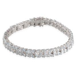 Espirito Santo Aquamarine (Mrq) Bracelet in Platinum Overlay Sterling Silver (Size 7.5) 10.750 Ct.