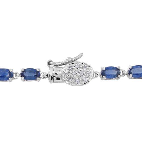 9K W Gold AAA Kanchanaburi Blue Sapphire (Ovl), Natural Cambodian White Zircon Tennis Bracelet (Size 7.5) 7.000 Ct.