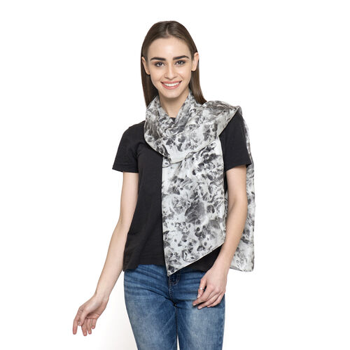 100% Mulberry Silk Black and White Colour Cat Pattern Scarf (Size 180x50 Cm)