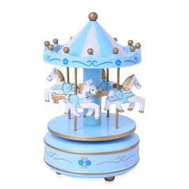 Home Decor - Handcrafted Blue and White Colour Wooden Horse Carousel Music Box (Size 18X10 Cm)