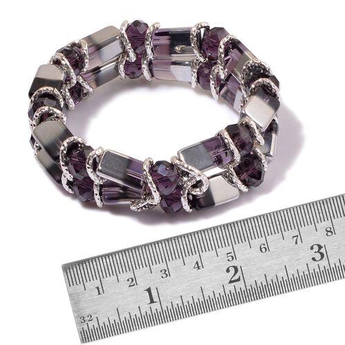 Purple and White Glass Stretchable Bracelet (Size 7.5) in Silver Tone
