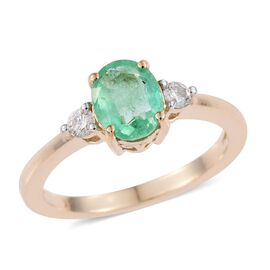 14K Yellow Gold Boyaca Colombian Emerald (Ovl 1.15 Ct), Diamond Ring 1.250 Ct.