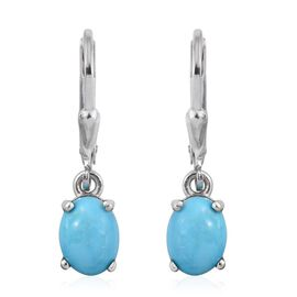Arizona Sleeping Beauty Turquoise (Ovl) Lever Back Earrings in Platinum Overlay Sterling Silver 2.000 Ct.
