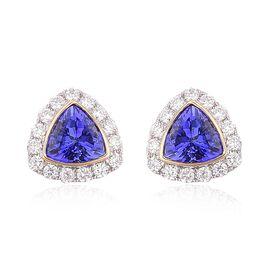 ILIANA 18K Y Gold AAA Tanzanite (Trl), Diamond Stud Earrings (with Push BacK) 1.750 Ct.