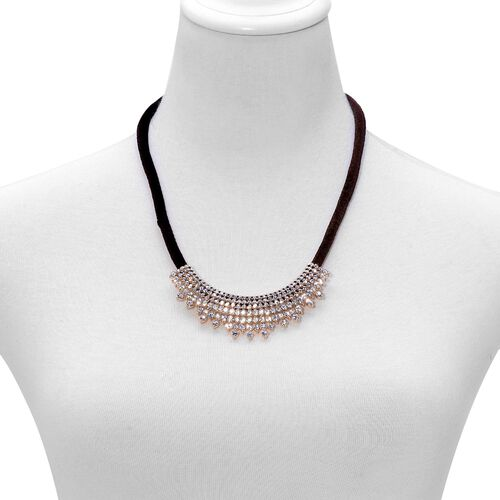 White Austrian Crystal Necklace (Size 20 with 2 inch Extender) in Gold Tone with Velvet Cord