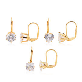 One Time Offer-ELANZA AAA Set of 3 Simulated Diamond (Hrt, Rnd and Sqr) Lever Back Earrings in 14K Gold Overlay Sterling Silver