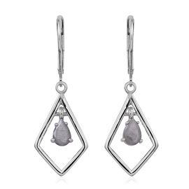 Natural Silver Sapphire (Pear) Lever Back Earrings in Rhodium Plated Sterling Silver 1.500 Ct.