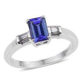RHAPSODY 950 Platinum 1.25 Carat AAAA Tanzanite Octagon Solitaire Ring with Diamond VS E-F.