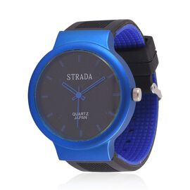 STRADA Japanese Movement Black Dial Water Resistant Watch in Silver Tone with Stainless Steel Back and Blue and Black Silicone Strap