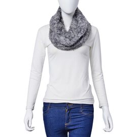 Italian Designer Inspired  Grey Colour Faux Fur Infinity Scarf (Size 75x15 Cm)