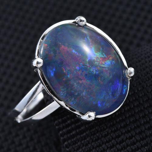 australian boulder opal ovl solitaire ring in platinum