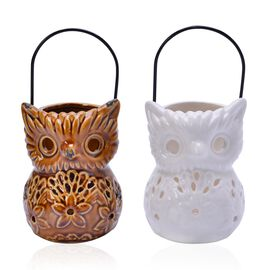 Home Decor - Set of 2 - Chocolate and White Colour Cut Out Leaf Pattern Owl Ceramic Lantern