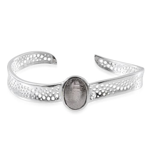 Meteorite (Ovl) Bangle (Size 7.5) in Platinum Overlay Sterling Silver 14.000 Ct.