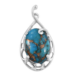 Blue Turquoise (Ovl) Solitaire Pendant in ION Plated Platinum Bond 9.250 Ct.