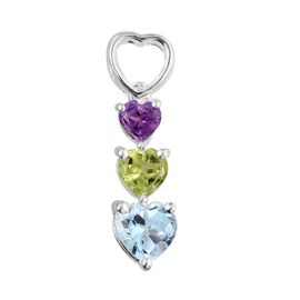 Sky Blue Topaz (Hrt 0.75 Ct), Hebei Peridot and Amethyst Pendant in Sterling Silver 1.500 Ct.