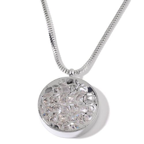 AAA Simulated White Diamond Pendant With Chain in Silver Tone