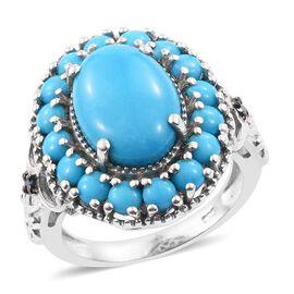 Arizona Sleeping Beauty Turquoise (Ovl 4.30 Ct), Blue Diamond Ring in Platinum Overlay Sterling Silver 6.000 Ct.