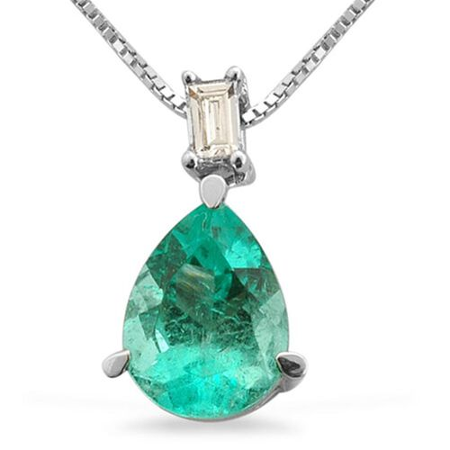 Limited Available RHAPSODY 950 Platinum Boyaca Colombian Emerald (Pear 0.90 Ct), Diamond Pendant With Chain 1.000 Ct.