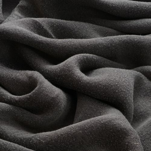 100% Rayon Dark Grey Colour Scarf with Fringes (Size 175x70 Cm)