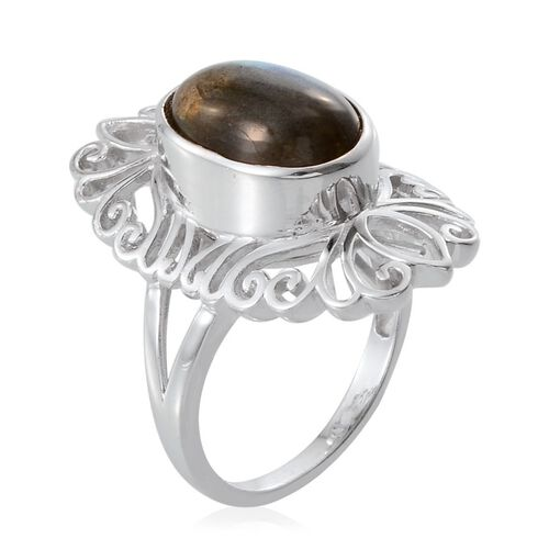 Tribal Collection of India Labradorite (Ovl) Ring in Platinum Overlay Sterling Silver 5.500 Ct.