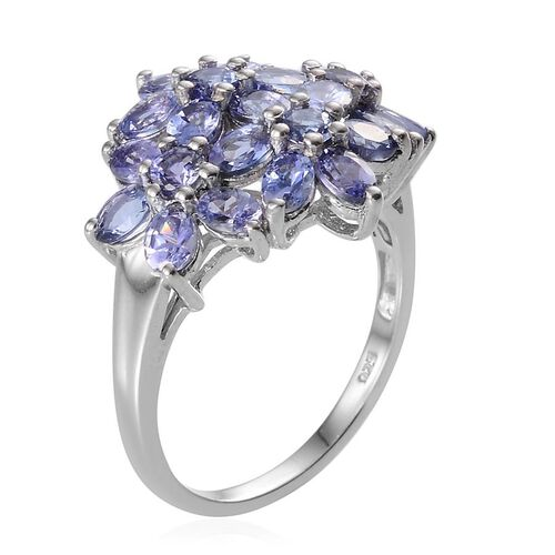 Tanzanite (Ovl) Cluster Ring in Platinum Overlay Sterling Silver 3.500 Ct.