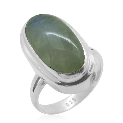 Royal Bali Collection Rainbow Moonstone (Ovl) Ring in Sterling Silver 11.580 Ct.