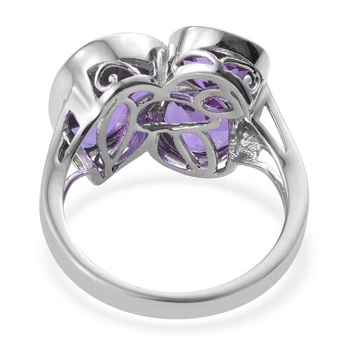 Lavender Alexite (Pear 3.75 Ct) Ring in Platinum Overlay Sterling Silver 7.500 Ct.