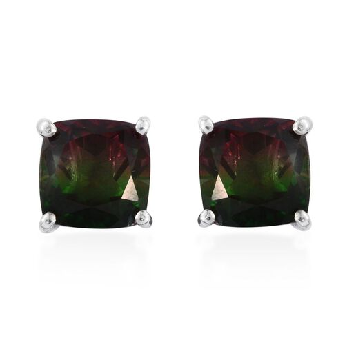Bi-Color Tourmaline Quartz (Cush) Stud Earrings (with Push Back) in Platinum Overlay Sterling Silver 7.500 Ct.