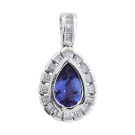 Tanzanite (Pear 1.30 Ct), Diamond Pendant in Platinum Overlay Sterling Silver 1.500 Ct.