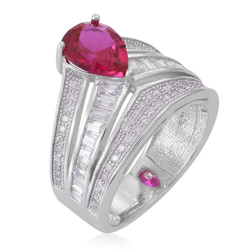 ELANZA AAA Simulated Pink Sapphire (Pear), Simulated White Diamond Ring in Rhodium Plated Sterling Silver