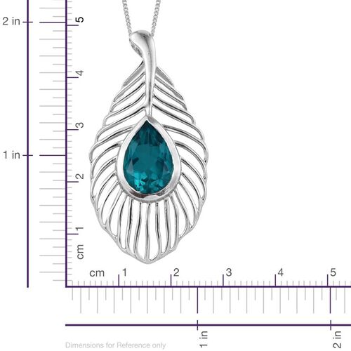 Capri Blue Quartz (Pear) Solitaire Pendant With Chain in Platinum Overlay Sterling Silver 6.000 Ct.