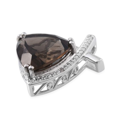 Brazilian Smoky Quartz (Trl 9.75 Ct), Diamond Pendant in Platinum Overlay Sterling Silver 9.760 Ct.