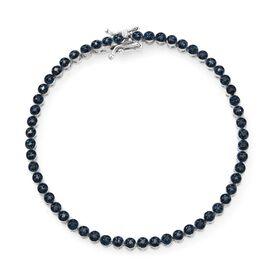 Blue Diamond (Rnd) Tennis Bracelet (Size 7.5) in Platinum Overlay Sterling Silver 0.750 Ct.