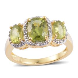 AA Hebei Peridot (Cush 1.33 Ct), White Topaz Ring in Yellow Gold Overlay Sterling Silver 2.310 Ct.