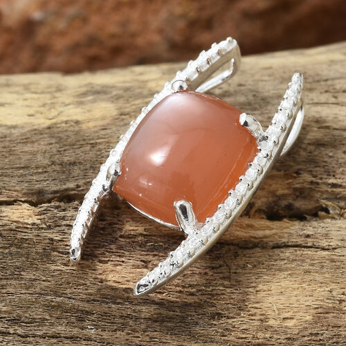 Peach Moonstone (Cush) Solitaire Pendant in Sterling Silver 3.250 Ct.