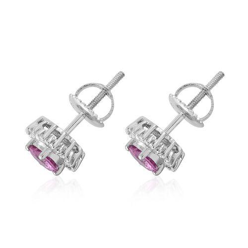 RHAPSODY 950 Platinum 1.25 Carat AAAA Pink Sapphire Halo Stud Earrings With Diamond VS E-F